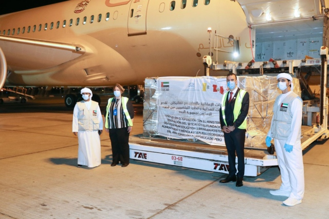 الإمارات ترسل طائرة مساعدات طبية وغذائية لدولة البيرو